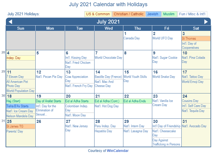 July 2021 Calendar With Holidays July 2021 Calendar with Holidays   United States