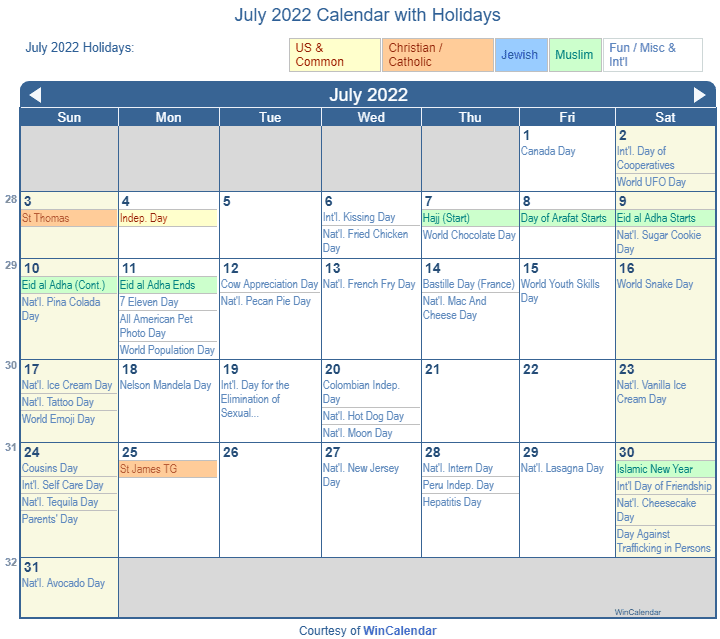 Calendar 2022 July.July 2022 Calendar With Holidays United States