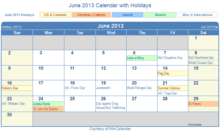 Print Friendly June 2013 US Calendar for printing
