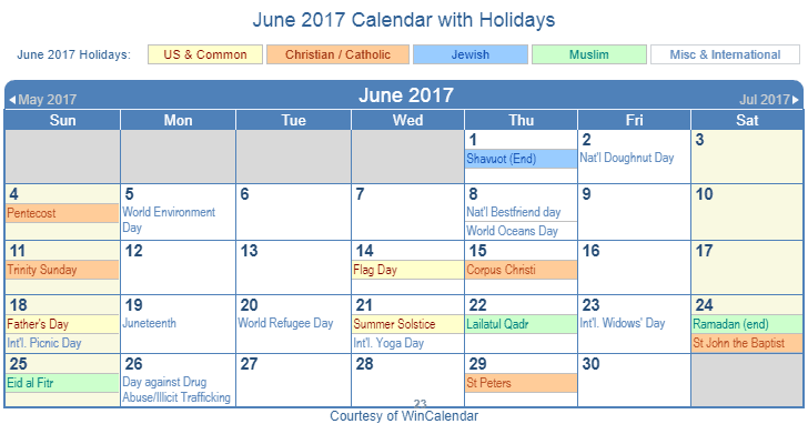 June 2017 Printable Calendar with US Holidays including: Christian, Jewish and Muslim Holidays