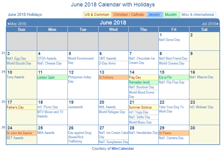 June 2018 Printable Calendar with US Holidays including: Christian, Jewish and Muslim Holidays