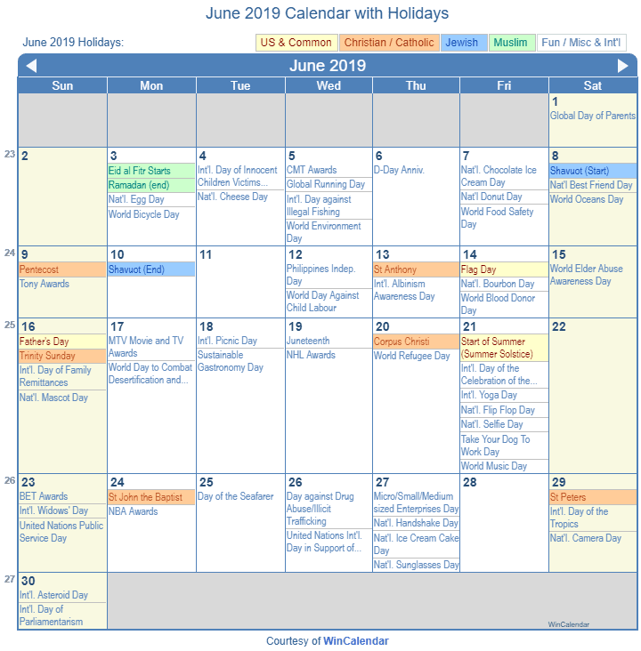 2019 June Calendar.June 2019 Calendar With Holidays United States
