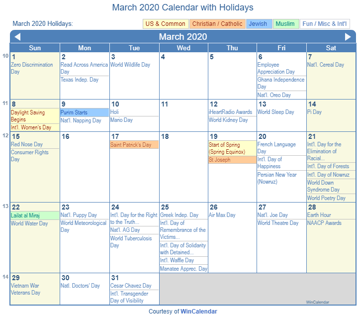 March 2020 Calendar With Holidays March 2020 Calendar with Holidays   United States