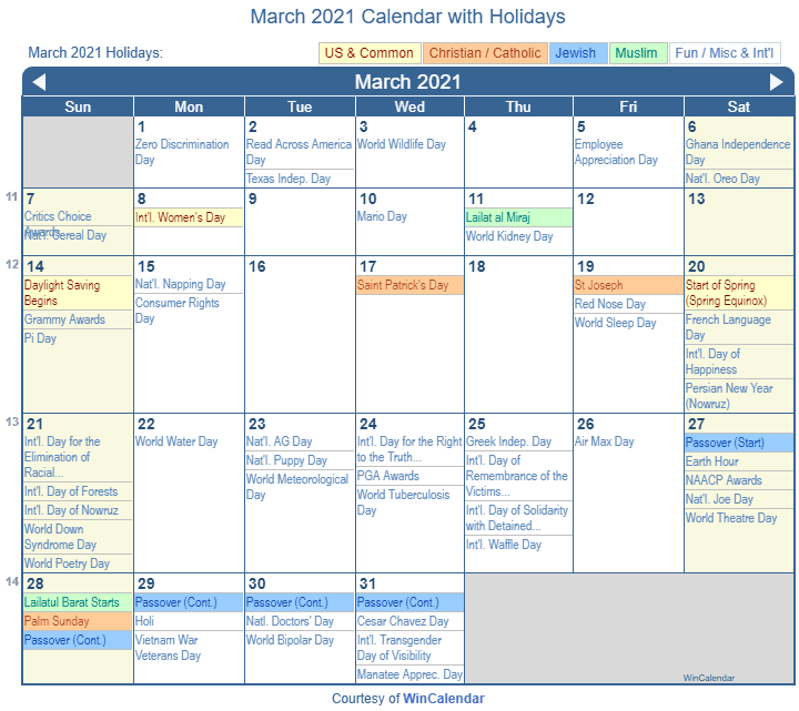 March 2021 Calendar with Holidays   United States