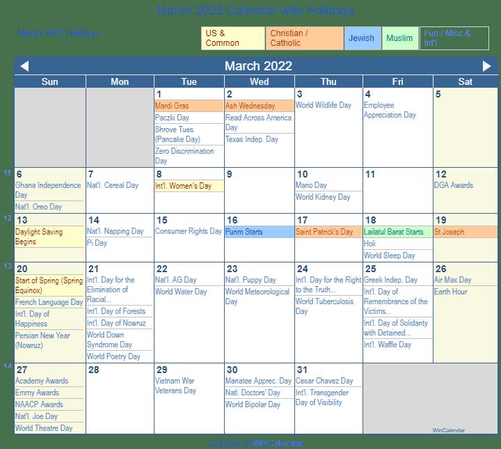 2022 Christian Calendar.March 2022 Calendar With Holidays United States