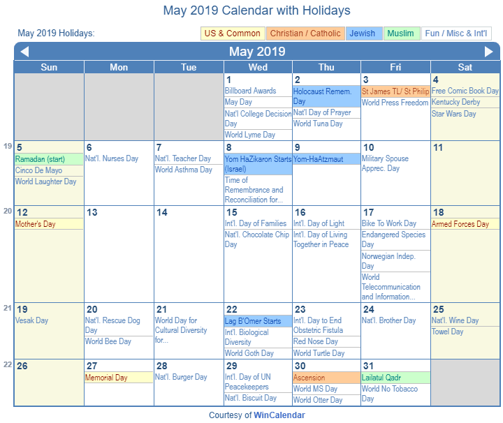 may 2019 calendar with holidays united states