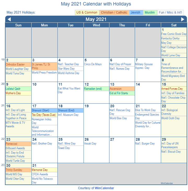 May 2021 Calendar Holidays May 2021 Calendar with Holidays   United States