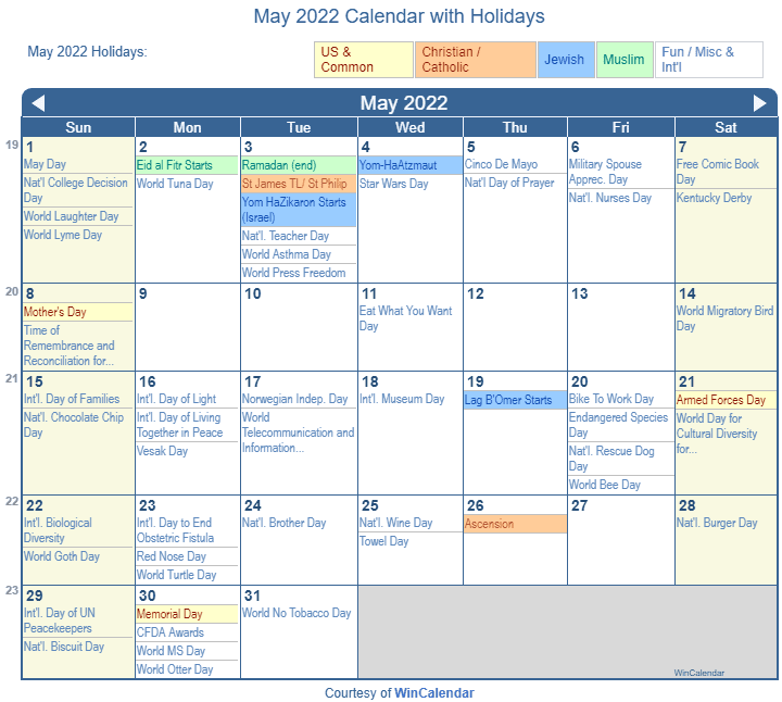 May Calendar Wincalendar : Print friendly may us calendar for printing
