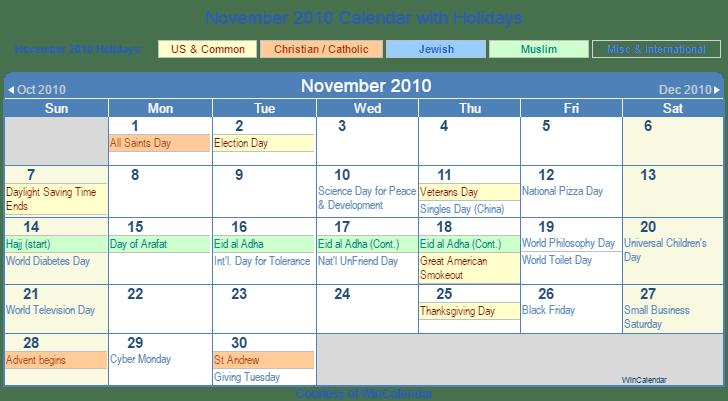 Print Friendly November 2010 US Calendar for printing