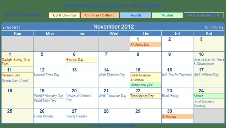 november calendar with holidays