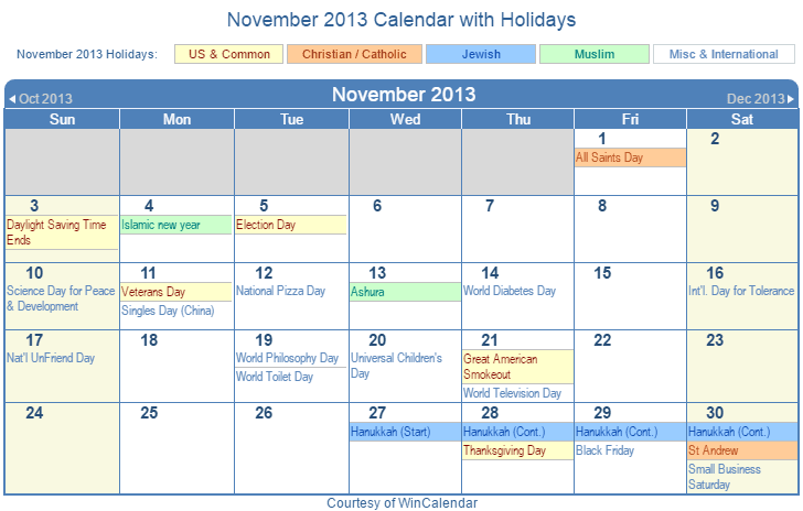 Print Friendly November 2013 Us Calendar For Printing
