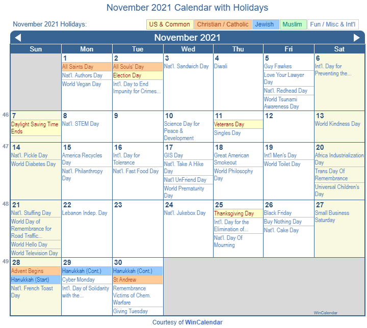 November 2021 Calendar with Holidays   United States
