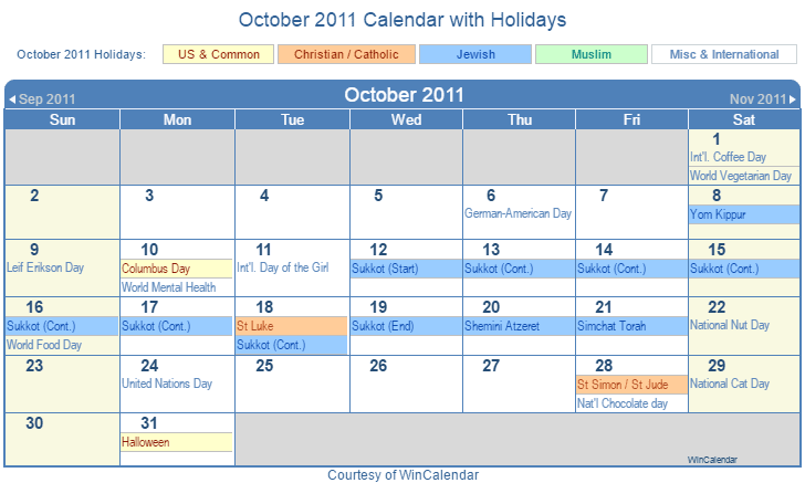 October 2011 Printable Calendar with US, Christian, Jewish, Muslim & Holidays