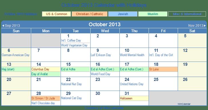 Print Friendly October 2013 US Calendar for printing