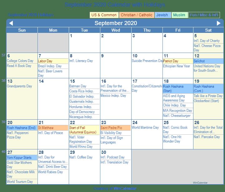 September 2020 Calendar With Holidays September 2020 Calendar with Holidays   United States