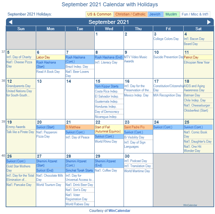 September 2021 Calendar with Holidays   United States