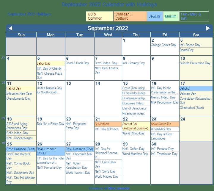 Sep 2022 Calendar.September 2022 Calendar With Holidays United States