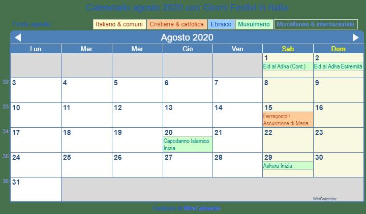 Calendario Islamico 2020.Calendario Agosto 2020 Con Giorni Festivi Italia