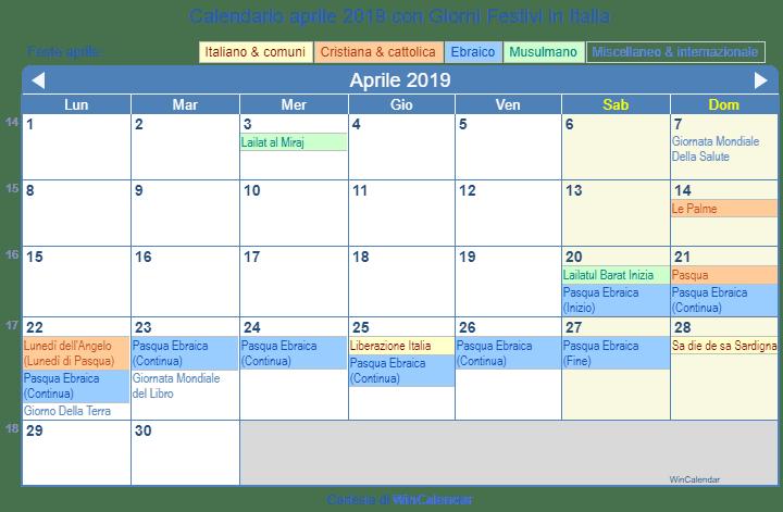 Calendario Aprile 2018 Con Festivita.Calendario Aprile 2019 Con Giorni Festivi Italia