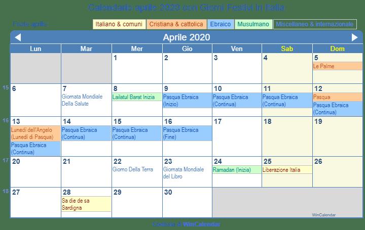 Calendario Mese Aprile 2020.Calendario Aprile 2020 Con Giorni Festivi Italia