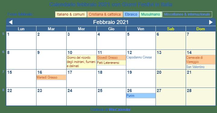 Calendario Con Giorni Festivi.Calendario Febbraio 2021 Con Giorni Festivi Italia