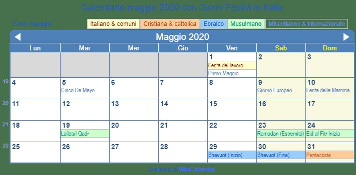 Calendario Mese Di Maggio 2020.Calendario Maggio 2020 Con Giorni Festivi Italia