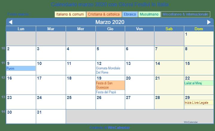 Calendario Delle Festivita 2020.Calendario Marzo 2020 Con Giorni Festivi Italia