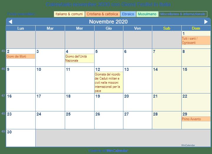 Calendario 2020 Con Festivita Italiane Pdf.Calendario Novembre 2020 Con Giorni Festivi Italia