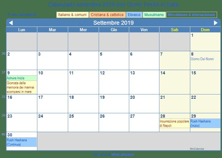 Calendario Con Festivita 2019.Calendario 2019 Con Giorni Festivi Italia