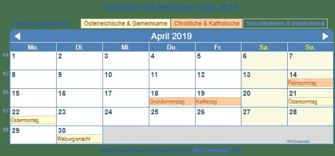 Kalender 2019 Mit Feiertagen österreich