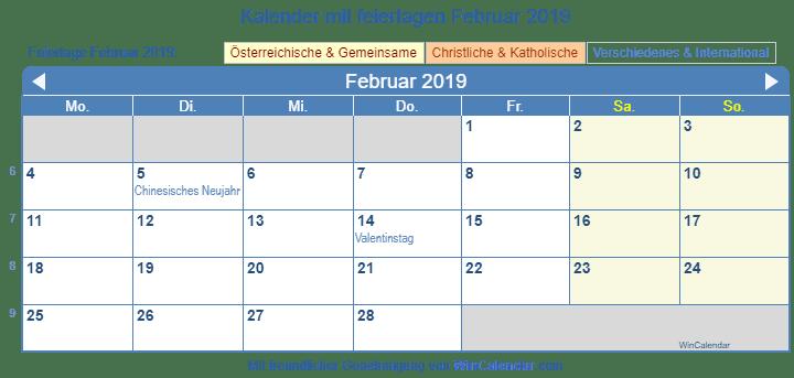 Kalender 2019 Mit Feiertagen Osterreich