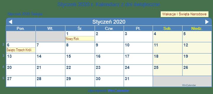 Styczen 2020 Kalendarz Swiateczny Polska