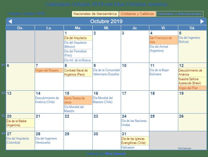 Calendario Colombia 2019 Octubre.Calendario Octubre 2019 Con Dias Feriados America Latina