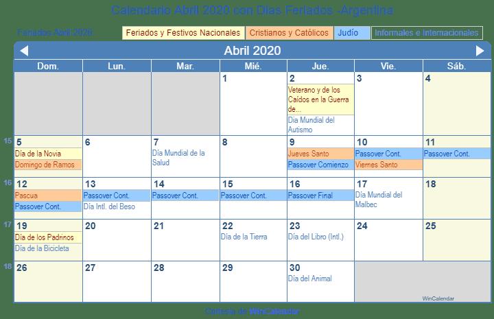 Marzo 2020 Calendario Argentina.Calendario Abril 2020 Con Dias Feriados Argentina