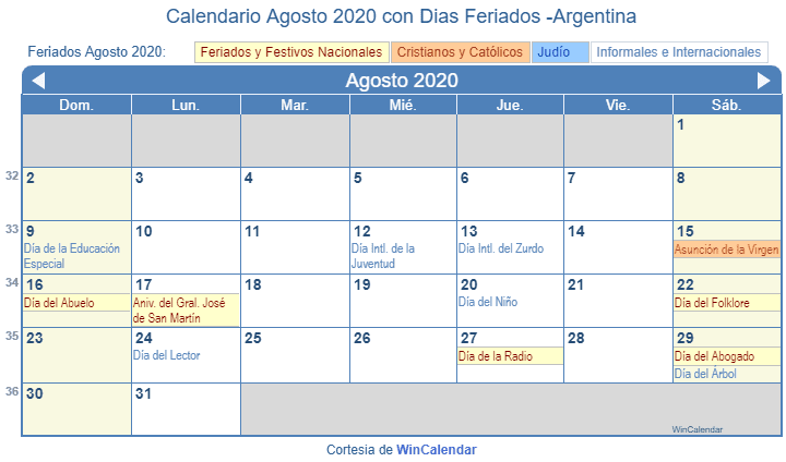 Calendario Agosto 2020 Argentina.Calendario Agosto 2020 Con Dias Feriados Argentina