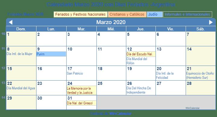 Calendario Mundial 2020.Calendario Marzo 2020 Con Dias Feriados Argentina