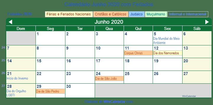 Calendario 2020 Brasil Com Feriados.Calendario Junho 2020 Com Feriados E Dias Festivos Brasil