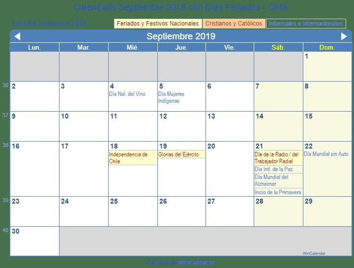 Calendario Numeros Grandes Septiembre 2019.Calendario 2019 Con Dias Feriados Chile