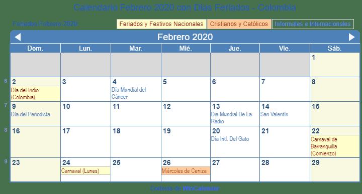 Calendario 2019 Y 2020 Con Festivos Para Colombia.Calendario Febrero 2020 Con Dias Feriados Colombia
