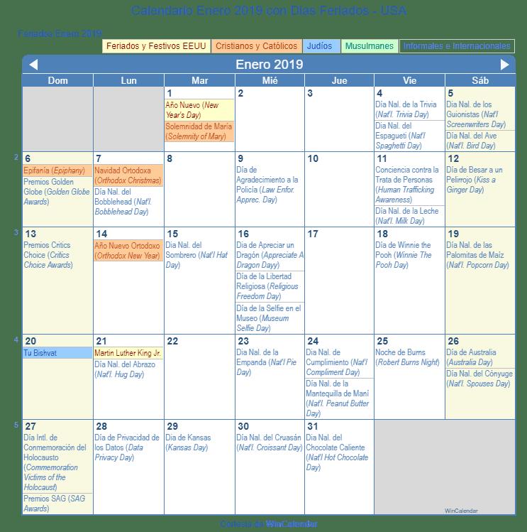 Calendario Enero 2019 Con Dias Feriados Estados Unidos