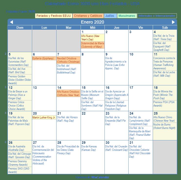 Calendario 2020 Portugues Com Feriados.Calendario Enero 2020 Con Dias Feriados Estados Unidos