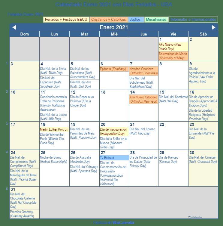 Calendario Enero 2021 con Dias Feriados   Estados Unidos