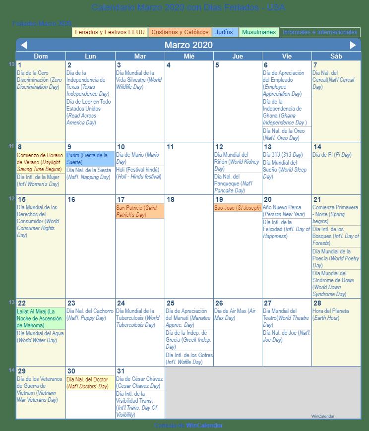 Calendario 2020 Portugues Com Feriados.Calendario Marzo 2020 Con Dias Feriados Estados Unidos