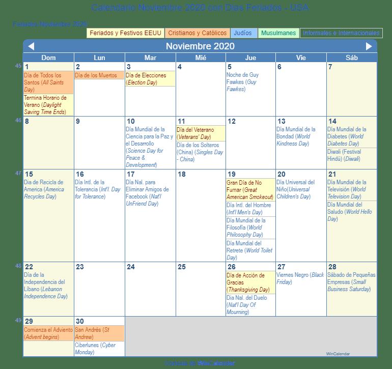 Calendario Noviembre 2020 Con Dias Feriados Estados Unidos