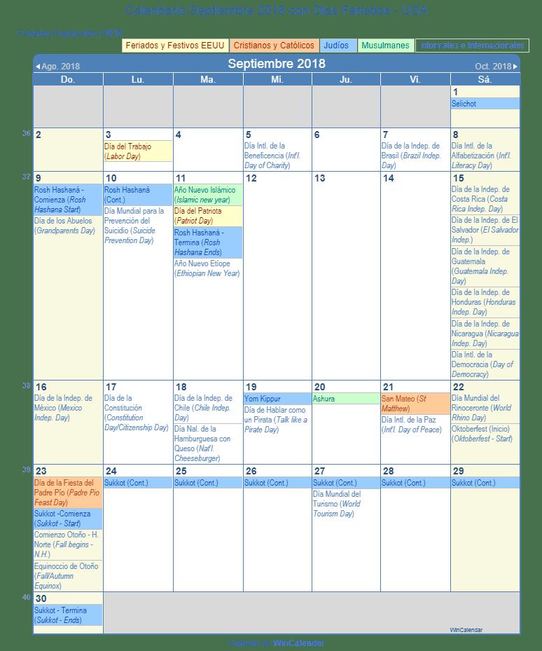 Calendario Septiembre 2018 Con Dias Feriados Estados Unidos