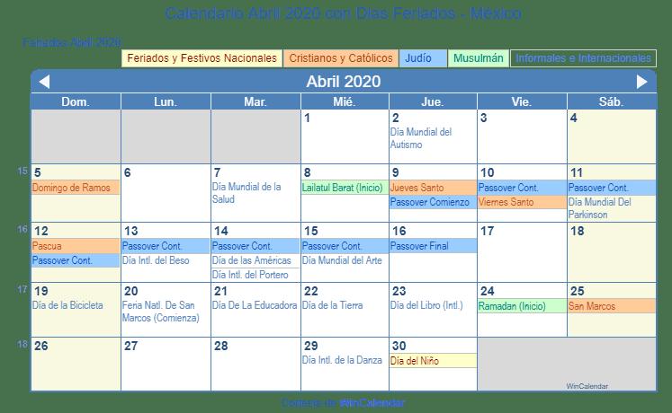 Calendario Loteria Nacional 2020.Calendario Abril 2020 Con Dias Feriados Mexico