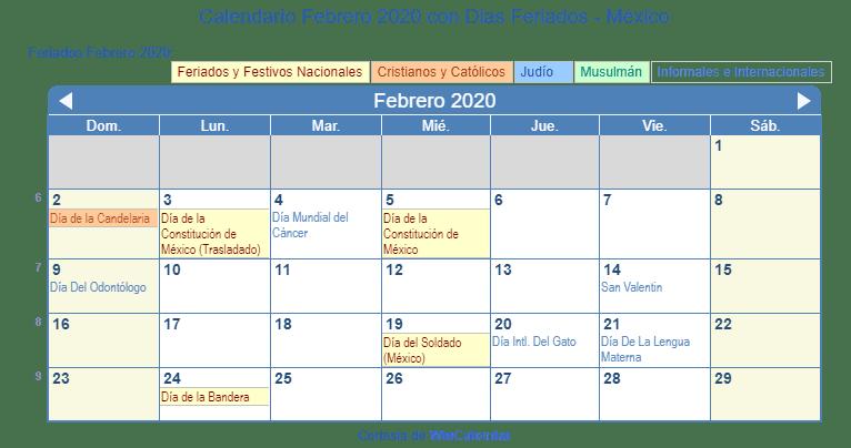 Dias Festivo Calendario 2020 Mexico.Calendario Febrero 2020 Con Dias Feriados Mexico