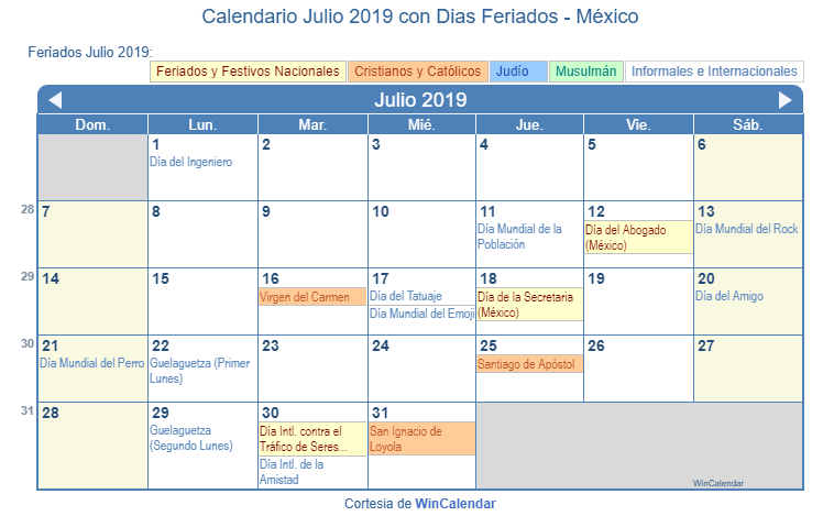 Calendario Julio 20019.Calendario Julio 2019 Con Dias Feriados Mexico