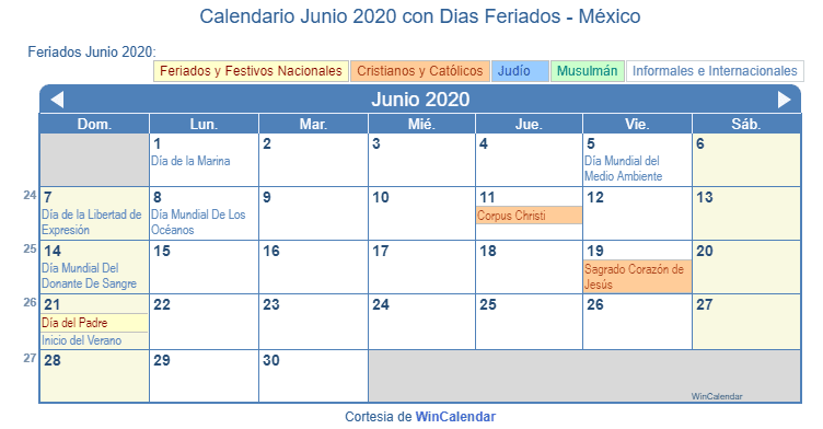 Calendario Junio 2020 Pdf.Calendario Junio 2020 Con Dias Feriados Mexico