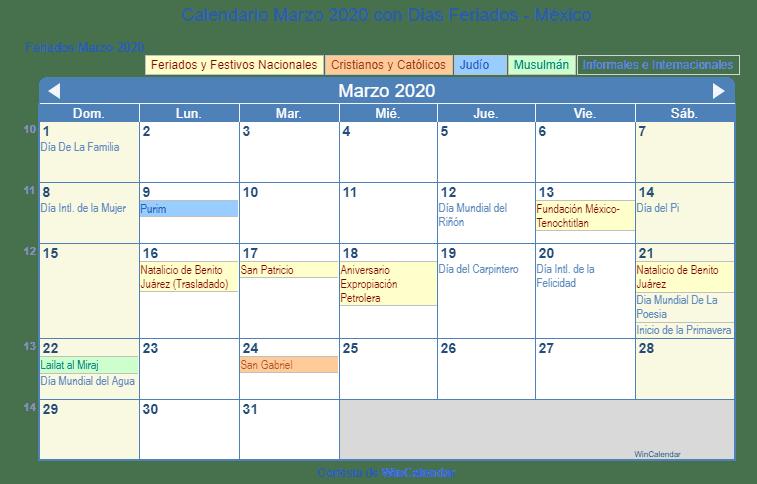 Calendario Marzo 2020 Con Dias Feriados Mexico
